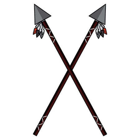 A crossed two spear native american indian weapon vector illustration