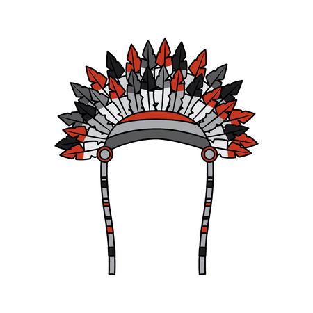 war bonnet bird feather hat traditional native indian vector illustration