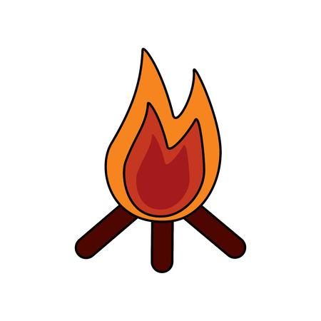 Feu de joie flamme chaude en bois icône chaude illustration vectorielle Banque d'images - 91502332