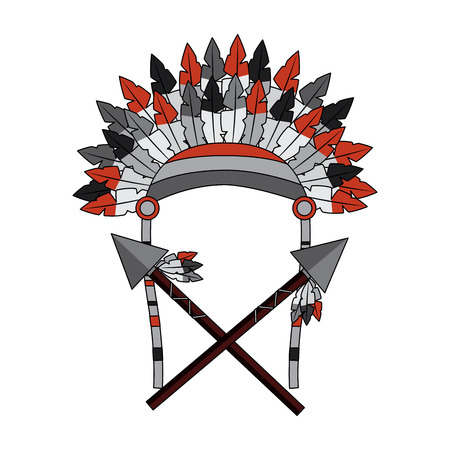 War bonnet spears feather native accessories vector illustration