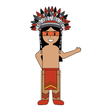cartoon native indian american with traditional costume headwear vector illustration
