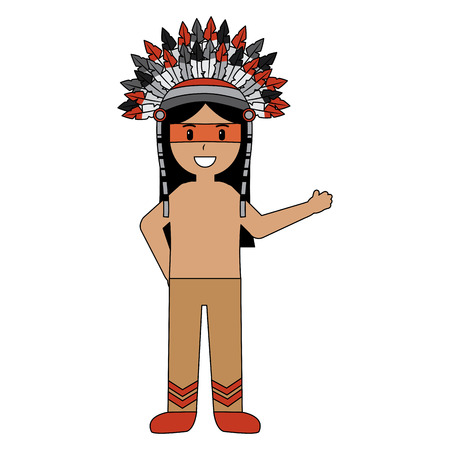native indian american with war bonnet traditional clothes vector illustration Ilustrace