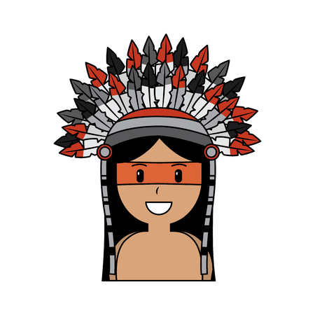 portrait aboriginal native american with war bonnet vector illustration