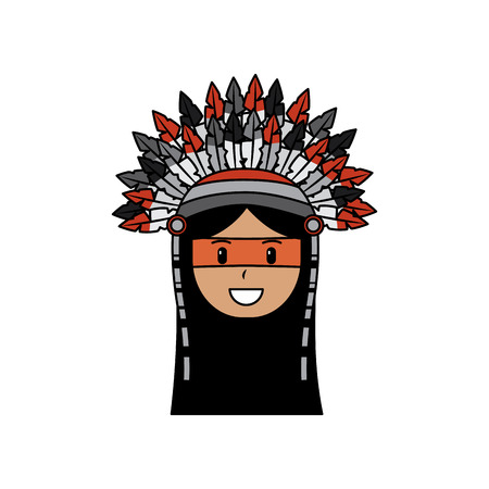 Face native american aboriginal indian headwear ornament feathers vector illustration Illustration