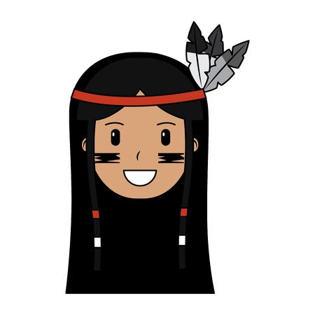face native american aboriginal indian headwear ornament feathers vector illustration Banco de Imagens - 91502334