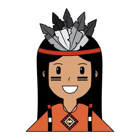 Portrait aborigène natif américain vector illustration illustration vectorielle