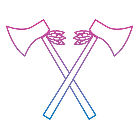 Crossed pair axe native american indian weapon vector illustration