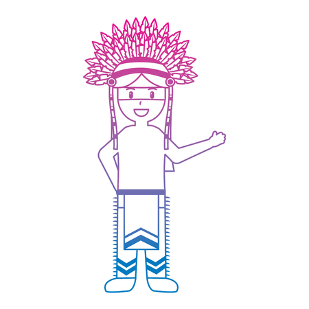 Cartoon native indian american with traditional costume headwear illustration. Illustration