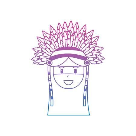 face native american aboriginal indian headwear ornament feathers vector illustration