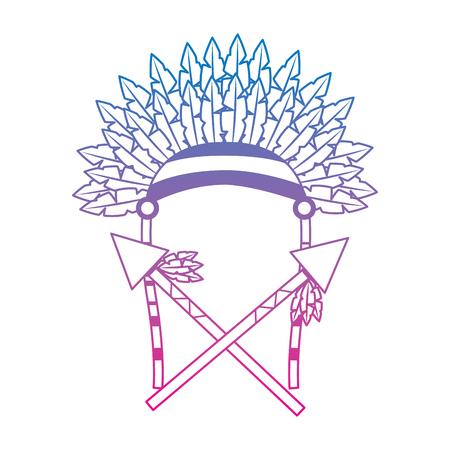 Oorlog motorkap speren veren inheemse accessoires vector illustratie