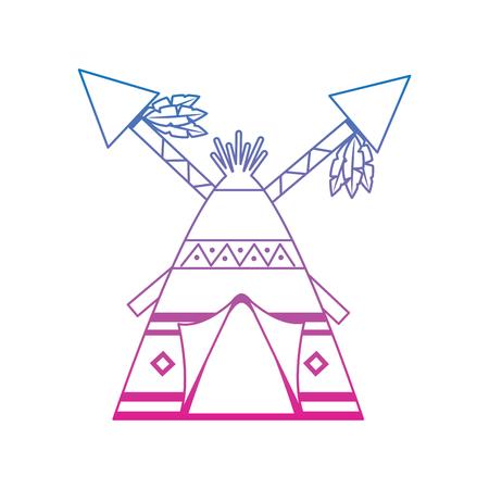 Inheems Amerikaans Indisch huis met gekruiste spears illustratie.