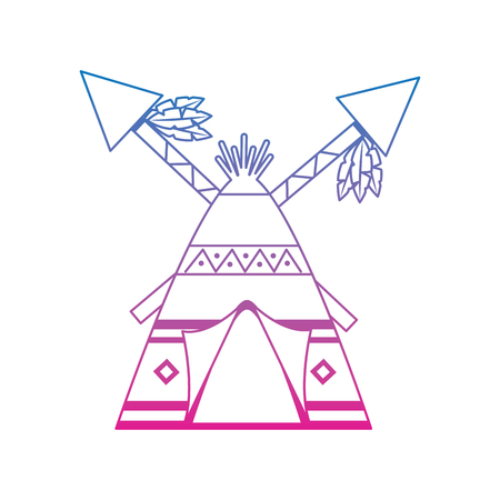 Native american indian home with crossed spears illustration.