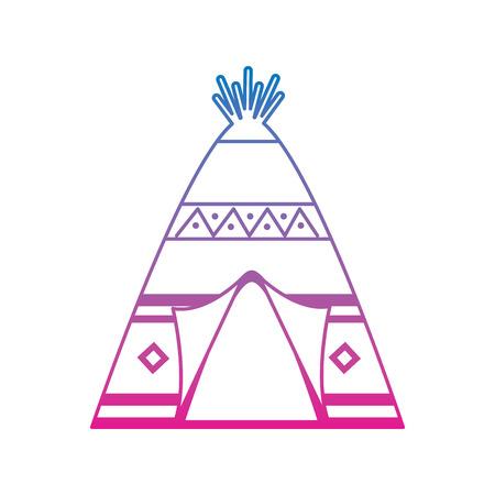 部族の装飾品フロントビューベクトルイラストを持つネイティブアメリカンインディアンティーピーホーム