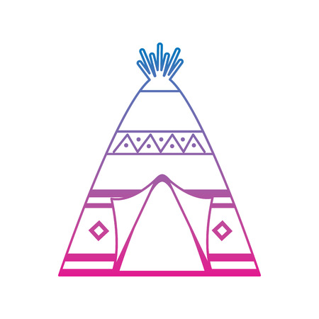 native american indian teepee home with tribal ornament front view vector illustration Illustration