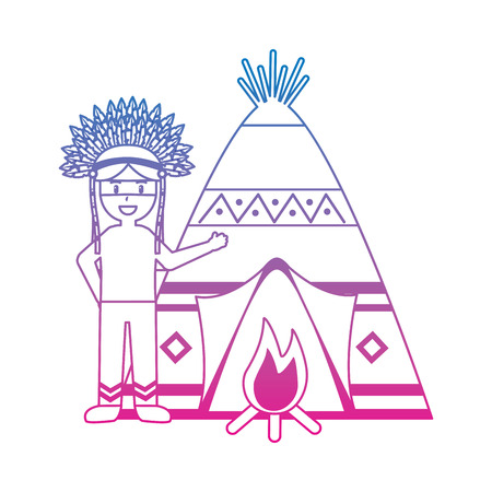 native american indian man with teepee and bonfire vector illustration