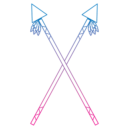 Crossed two spear native american indian weapon vector illustration