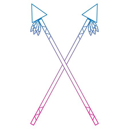 Gekruiste twee speer inheemse Amerikaanse Indische wapen vectorillustratie Stock Illustratie