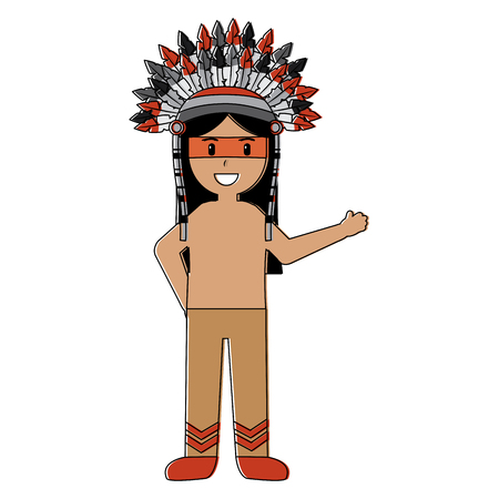 Native indian american with war bonnet traditional clothes vector illustration