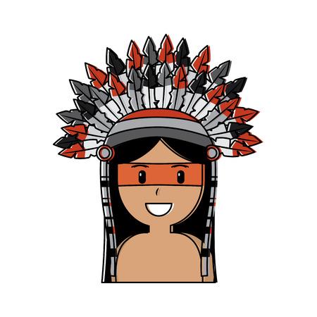 Portrait aboriginal native american with war bonnet vector illustration