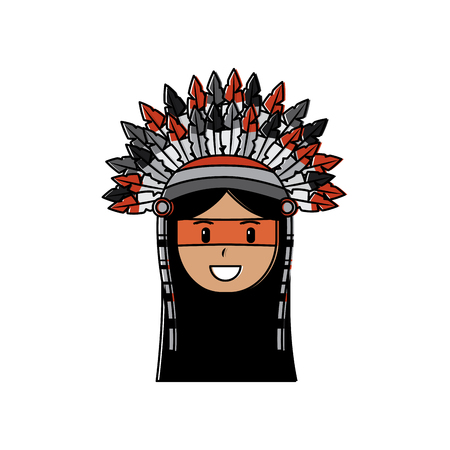 Face of native american aboriginal indian headwear ornament with feathers illustration.