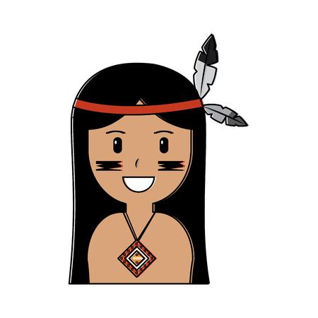 visage de indian american indian indian totem ornement avec plumes illustration Vecteurs