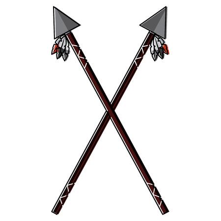 Crossed spear illustration. Illustration