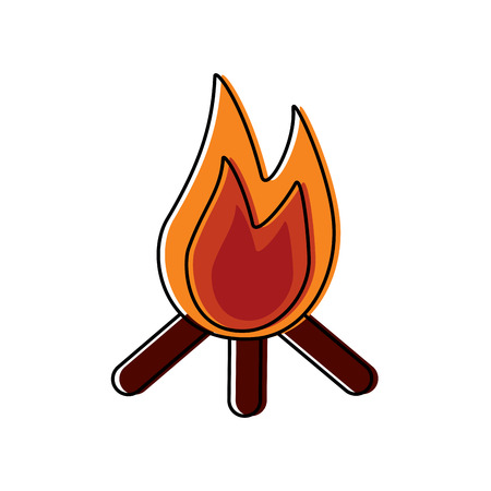 Bonfire flame hot wooden warm icon.