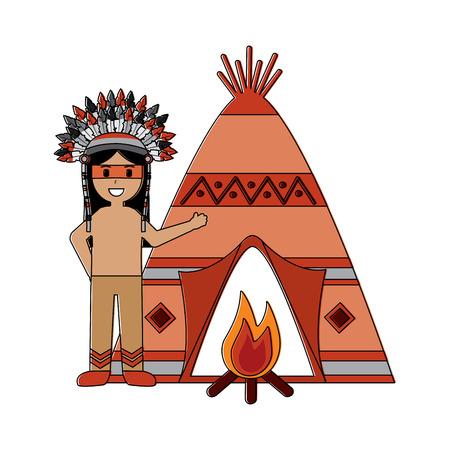 テントと焚き火のイラストを持つネイティブアメリカンインディアンの男。  イラスト・ベクター素材