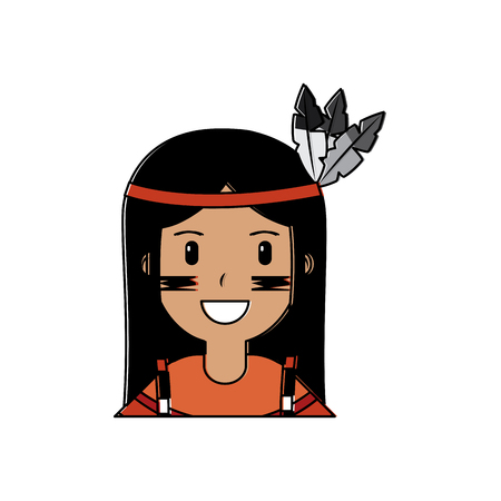 Portrait aboriginal native american vector illustration vector illustration