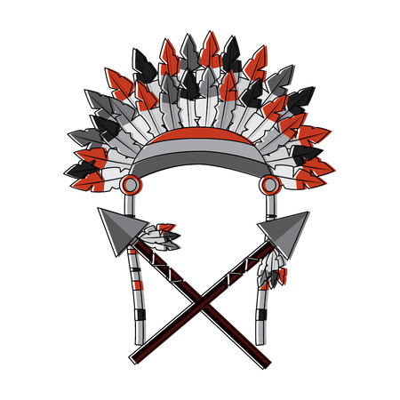 War bonnet spears feather native accessories illustration.