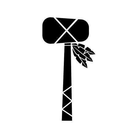 Tomahawk native american indian weapon illustration black image. Ilustração