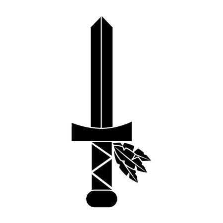 Sword native american indian weapon vector illustration black image