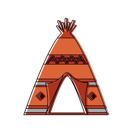 部族の装飾正面図を持つネイティブアメリカンインディアンティーピーホーム。