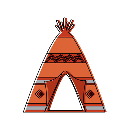 Native american indian teepee home with tribal ornament front view illustration. 일러스트