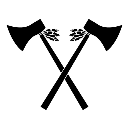 Crossed pair axe native american indian weapon vector illustration black image