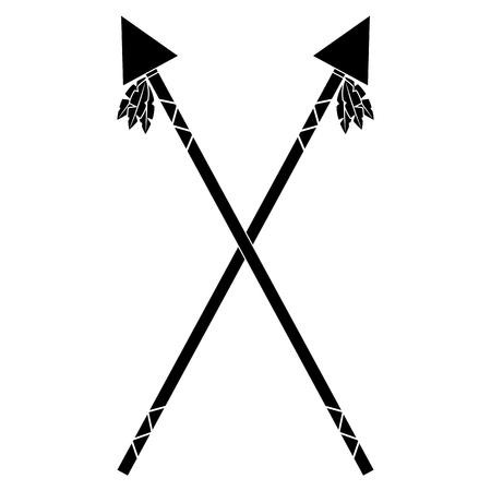 Gekruist twee zwarte afbeelding van de speer het inheemse Amerikaanse Indische wapen vectorillustratie
