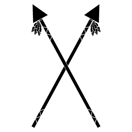 Crossed two spear native american indian weapon vector illustration black image Illustration