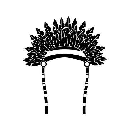 전쟁 보닛 조류 깃털 모자 전통적인 네이티브 인디언 벡터 일러스트 블랙 이미지