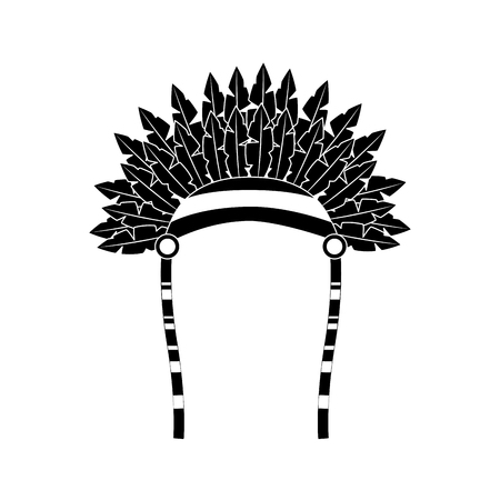 War bonnet bird feather hat traditional native indian vector illustration black image