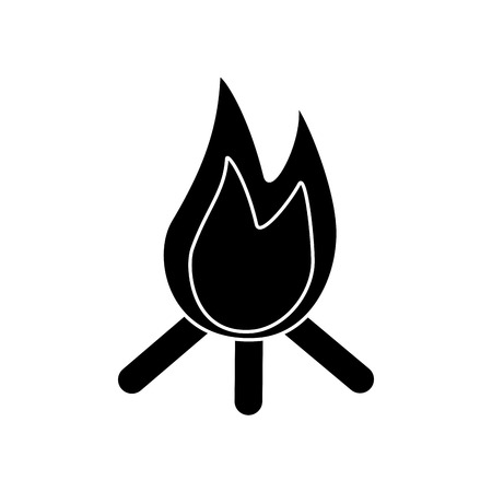 Bonfire flame hot wooden warm icon vector illustration black image
