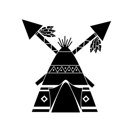 Native american indian teepee home with crossed spears vector illustration black image