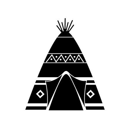 部族の装飾品フロントビューベクトルイラスト黒画像を持つネイティブアメリカンインディアンティーピーホーム  イラスト・ベクター素材