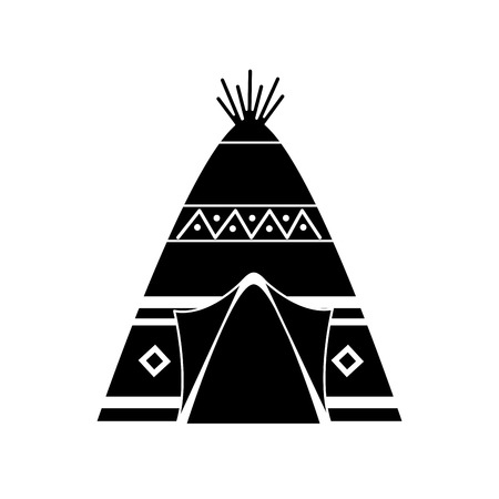 Native american indian teepee home with tribal ornament front view vector illustration black image Illustration