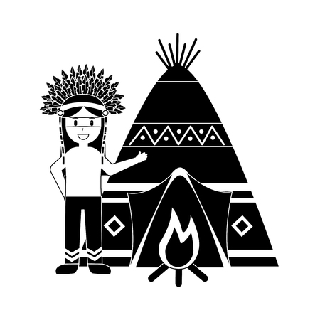 Native american indian man with teepee and bonfire vector illustration black image Ilustração