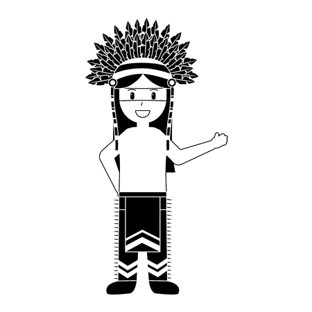 Cartoon native indian american with traditional costume headwear vector illustration black image