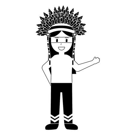 전쟁 보 닛 전통적인 의류 벡터 일러스트 블랙 이미지와 네이티브 인디언 미국