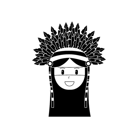 Face of native american aboriginal indian headwear ornament feathers illustration black image.