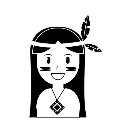 Portrait of aboriginal native american illustration black image.