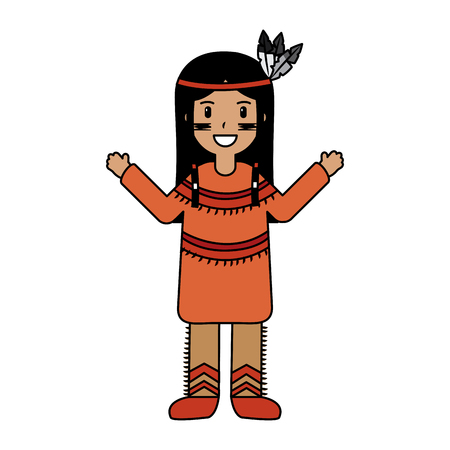 Native american with feather headdress clothes national traditional illustration.