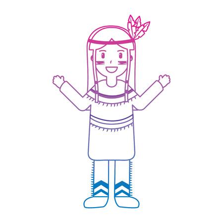 깃털 머리 장식 옷 아메리카 원주민 국가 전통 그림.